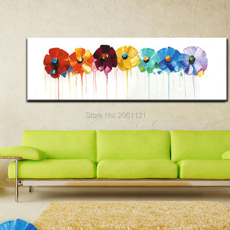 74d681e2b34 Hand Painted large long wall oil paintings Modern abstract floral ...