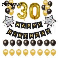 1 zestaw 30 18 25 21 50 lat Urodziny Balony strona Dekoracji Czarny Banner 12 inch Lateksowy Balon 40 cala 4-cyfrowy Numer globos