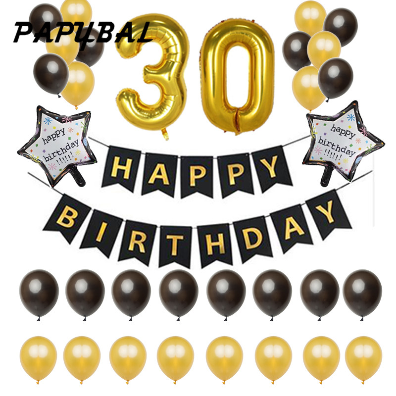 1set 30 18 25 21 50 years old Birthday Balloons Party Decoration Black Banner 12inch Latex Balloon 40inch Number digit globos