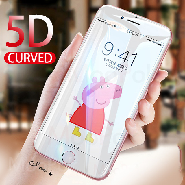 4715bfef87d Protector de pantalla con borde curvo moook 5D para iPhone 7 6 s 8 6 vidrio
