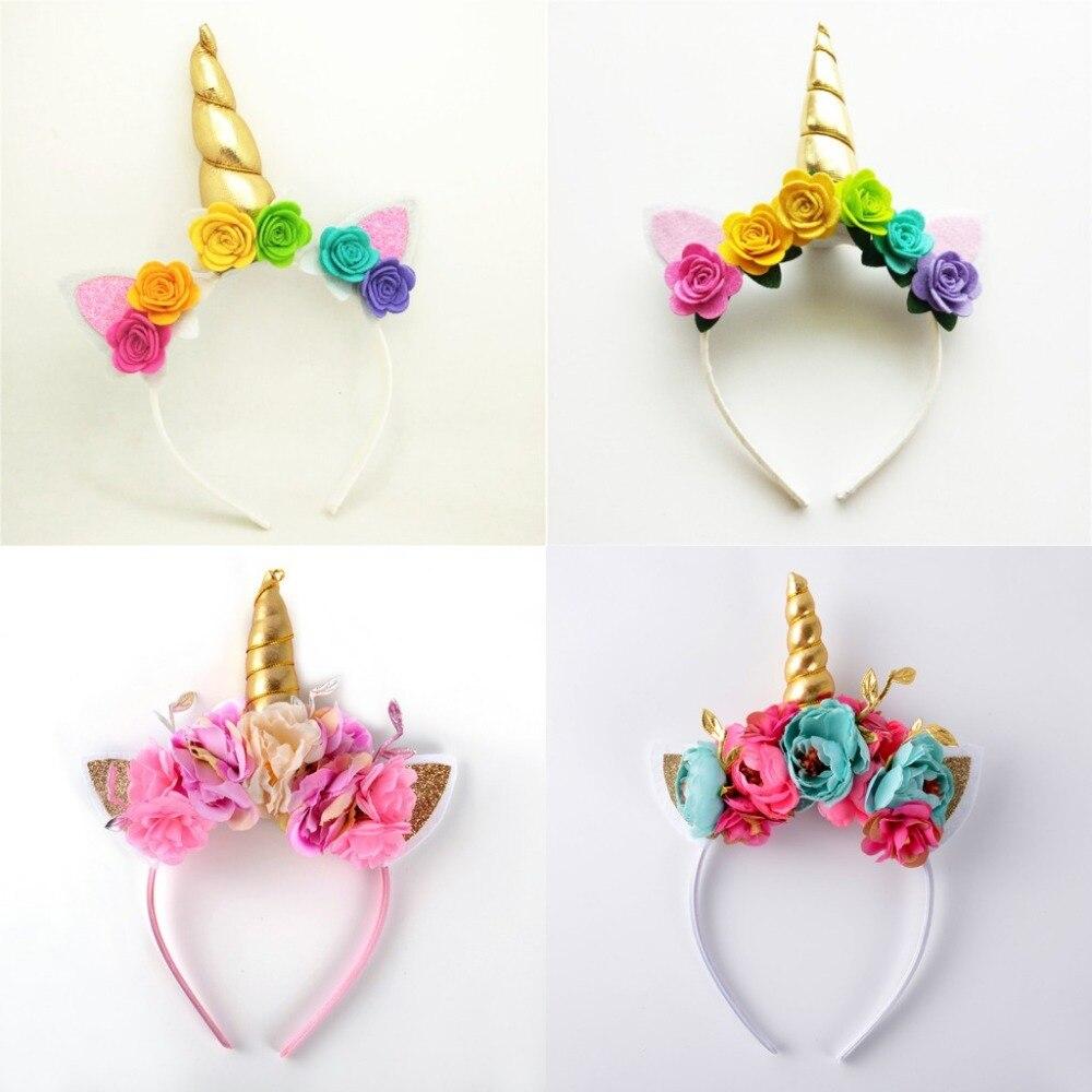 Gold Unicorn Pony Ears Soft Headband with Flowers Purple Tulle Muliti-color Rose Flower Girls Unicorn Party Hairbands hair Clips hand made unicorn flower hairbands hair