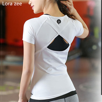 LORA ZEE Backless Yoga Shirts Tops Hollow out Sports Shirts Women White Workout Vest Solid Slim Running Shirt Sport Gym Clothes