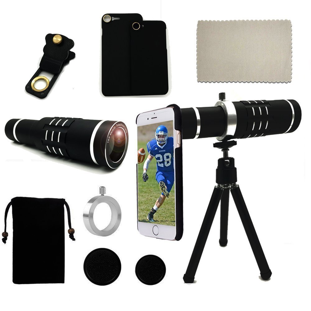 magnifier Telescope <font><b>18x</b></font> <font><b>Lens</b></font> Phone Holder+Case+Bag+Cleaning Cloth+Camera Photo Tripod Telephoto Phone <font><b>lens</b></font> For Iphone X 7 8 Plus image