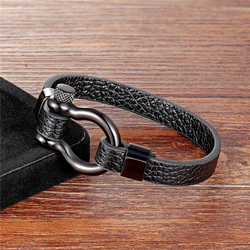 MKENDN Fashion Black Stainless Steel Shackle Buckle Leather Survival Bracelet Men Surf Nautical Sailor Surfer Wristband Jewelry