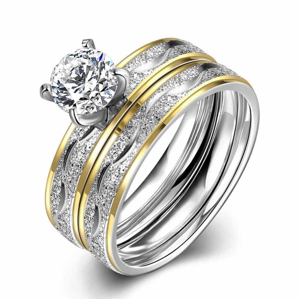 Zircon Double-layer Rings of 14K Gold Diamond Anillos De Diamante Rings with Bague Etoile Bizuteria Women Wedding Jewelry Rings
