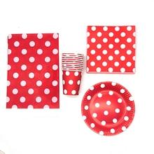 61 шт./упак. горошек тема одноразовые тарелки чашки салфетки красный горошек одноразовая посуда набор красный горошек тема чашки