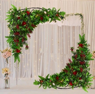Hot red roses with green grass Wedding Flower Wall Artifical Silk Flower Backdrop flower arch Wedding Decoration