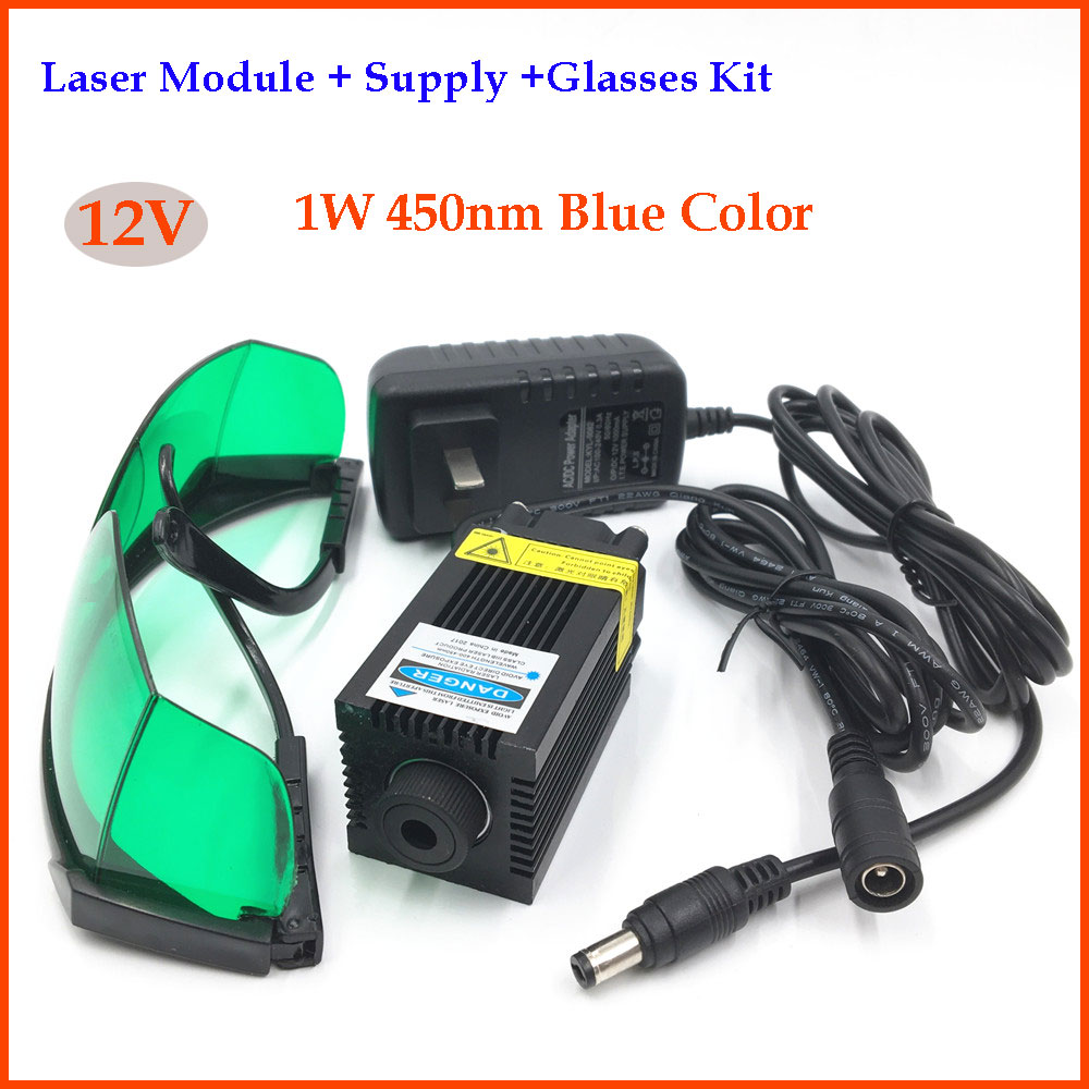 1W Focusable 450nm Blue Laser Module Diode 12V Laser Head+Glasses+Power Supply for Laser Engraving funry uk standard wall switch crystal glass panel 2 gang 1 way remote control touch switch ac 110 250v 1000w black white gold