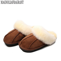 High Quality Winter Warm Home Slippers Fur One Couples Genuine Cow Leather Leisure Lamb Wool Women