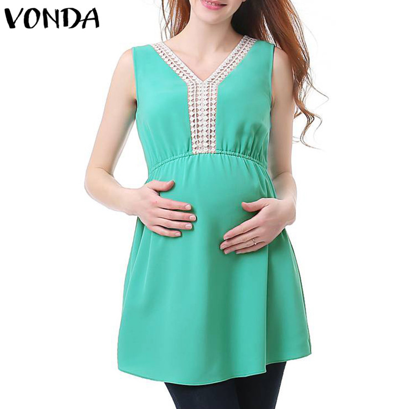 VONDA Maternity Clothes 2018 Summer Blouse Women Casual Loose Lace Splice Pregnant Shirt Sexy Sleeveless Chiffon Tops Plus Size
