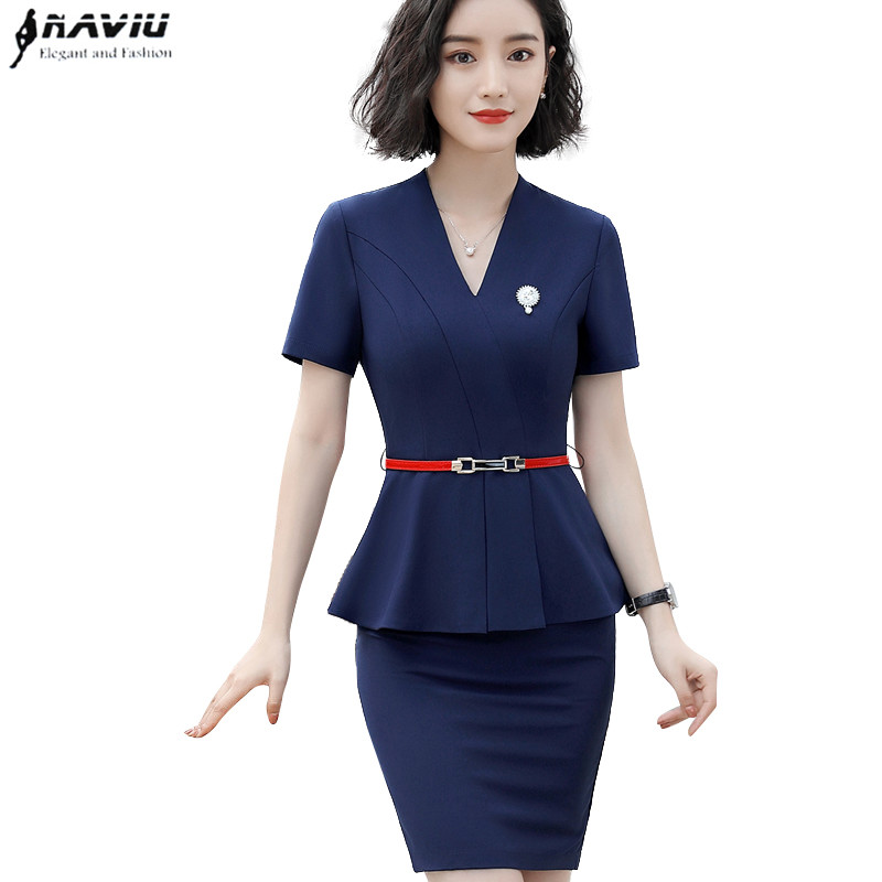 741c39338dd New Summer fashion skirt suit women Elegant temperament V Neck short sleeve  slim tops with skirt