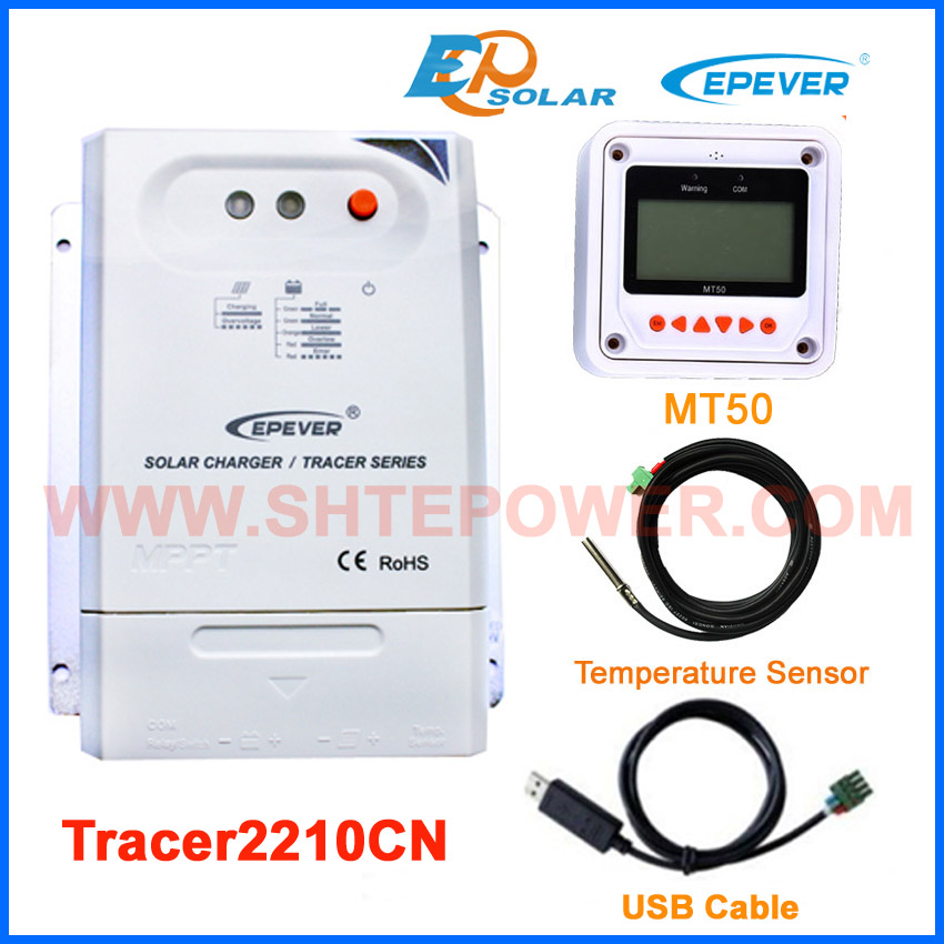MPPT EPEVER high efficiency 20A 20amp Tracer2210CN solar regulator +USB cable and temperature sensor MT50 remote meter epever mppt tracer2210cn 20a 20amp solar panel system controller with wifi box regulator usb cable mt50 remote meter
