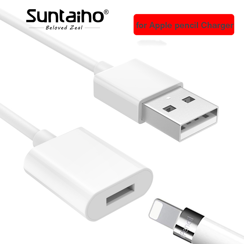 Suntaiho Charger for Apple Pencil Adapter Charging Cable Cord For Apple iPad Pro Pencil Stylus Male to Female Extensio USB Cable цена