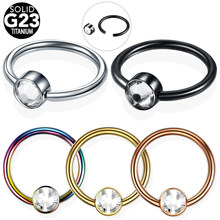 1PC G23 Titanium with Flat Gem CBR Ball BCR Helix Piercing Septum Piercing Nose Rings Labret Lip Rings Piercing Body Jewelry 16G(China)