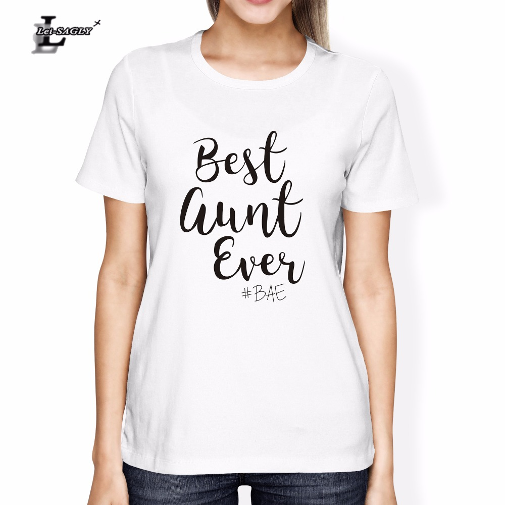 Lei-SAGLY Best Auntie Ever Printed T Shirt Women Proud Aunt New Aunt T-Shirt Fashion Tumblr Tee Shirt for Femme 2018 New Design