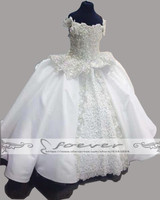 Exquisite Wihte Beading Satin Ball Gown Boat Neck Flower Girl Dress Pageant Dresses For Girls Glitz