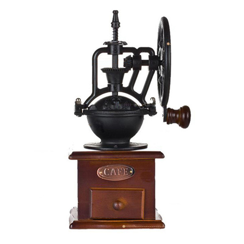 New Manual Coffee Grinder Antique Cast Iron Hand Crank Coffee Mill With Grind Settings & Catch Drawer hand crank coffee mill with adjustable coarseness screw coffee bean grinder capable mini hight quality manual classical