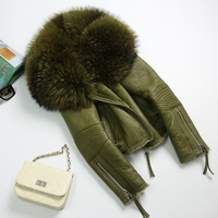 New Fashion Real Merino Sheep Fur Coat Winter Warm Genuine Sheepskin Leather Jacket Removable Real Large