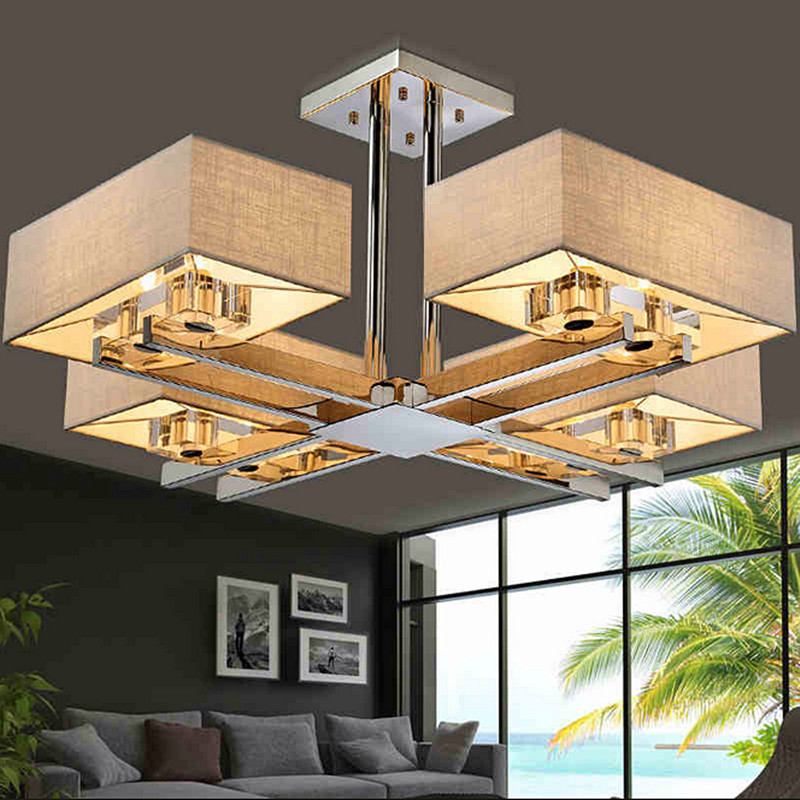 living room Crystal chandeliers rectangle rectangular lights new Chinese modern minimalist creative stainless steel led lamps цена 2017