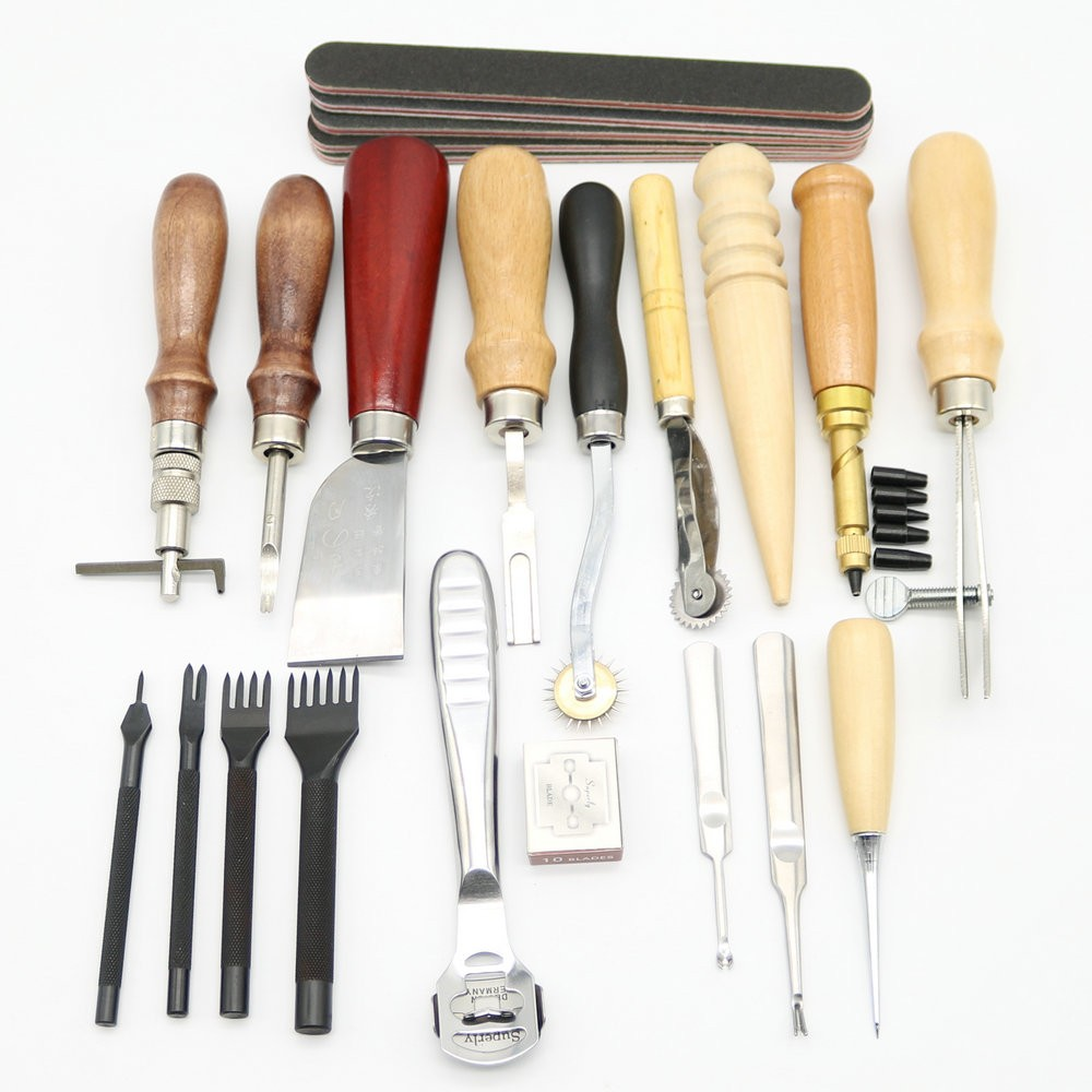 ФОТО 18pcs DIY Handmade Leather carft Punch Tools Kit Stitching Carving Working Sewing Groover Leather hand Tools set