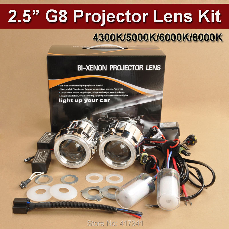 G8 CCFL H4 H7 2.5 inches Mini WST HID Bi xenon Projector Lens Xenon Bulb CCFL Angel Eye Halo for Car Headlight Retrofit Kit lhd 35w 2 8 inch hid bixenon headlight headlamp projector lens full retrofit kit car angle eye halo h7 h4 ballast xenon bulb