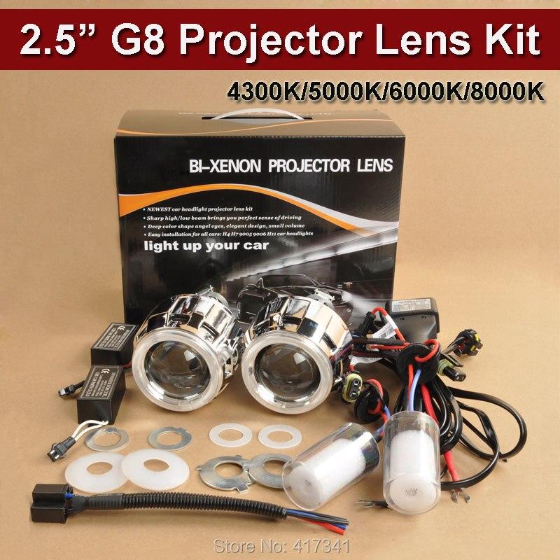 G8 CCFL H4 H7 2.5 pouces Mini WST HID Bi lentille de projecteur xénon ampoule CCFL Angel Eye Halo pour Kit de rénovation de phares de voiture