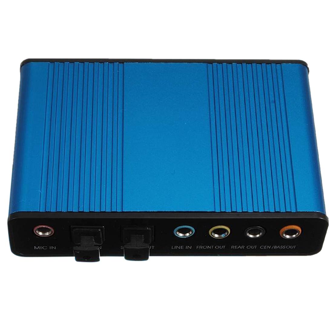 Blue External USB 6 Channel 5.1 External Audio Sound Card Optical Audio S / PDIF Optical Sound Card External Sound Card Box For
