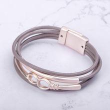 Женский многослойный браслет blucome из кожи с магнитом цвета