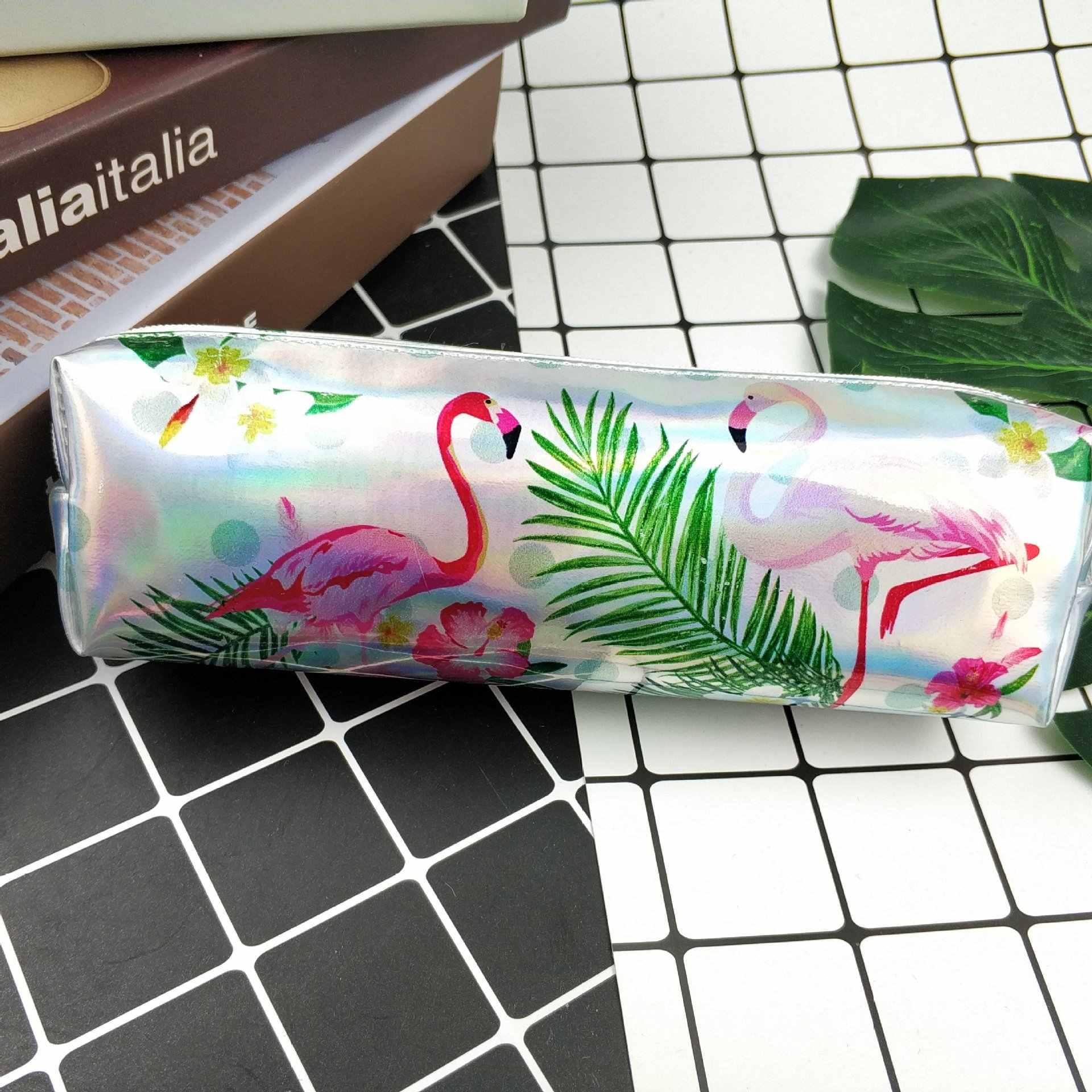 เลเซอร์ Flamingos กระเป๋าเดินทางดิจิตอลแบบพกพา USB Gadget Charger สายเครื่องสำอางค์ซิปกระเป๋าอุปกรณ์เสริม