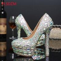 High Heel Crystal Pumps Wedding Bridal Rhinestone Shoes Formal Platform Party Dress Shoes Plus Size 34