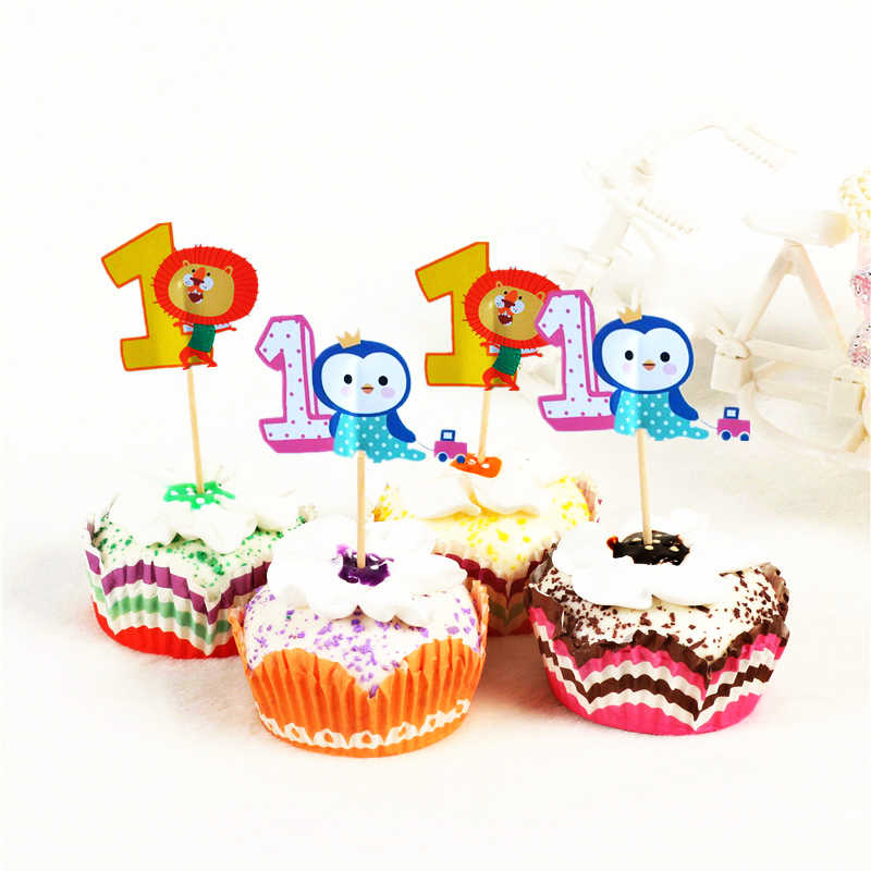 24pcs Cartoon Animal Number Cupcake Topper 1 2 3 Years Old Birthday Party Decor