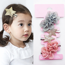 Fashion 1Set 2018 New Hair Clip Children Chiffon Glitter Flowers Hairpins Party Girls Grace