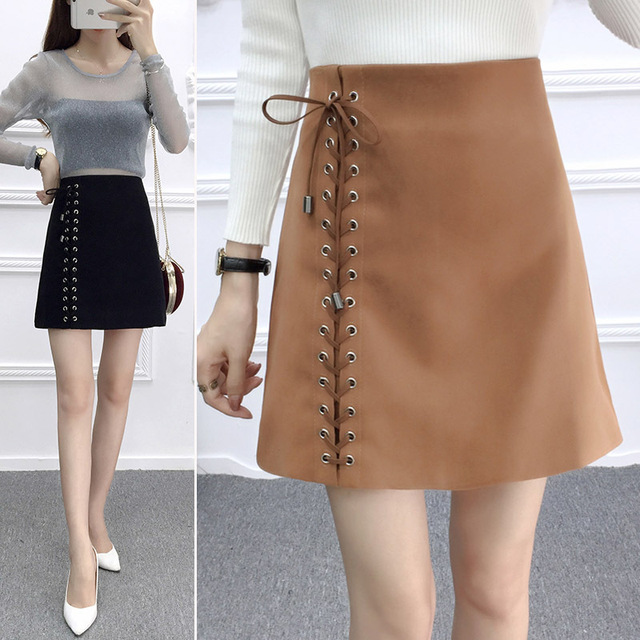 e83dafe300d 2018 winter autumn leather suede high waist skirt warm korean style women  skirt strapes zipper plus