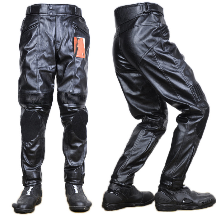 Men's PU Leather Racing Pants Men Off-road Trousers Waterproof Racing Suit Motorcycle Pants Motocross Riding Protective Trousers