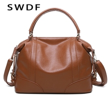 SWDF 2019 Fashion Solid Women Pillow Handbag Soft PU Leather Women Top-Handle Bag Tote Shoulder Bag Large Capacity Brand Bolsos