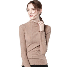 Knitted solid color super large size long sleeve fungus half high collar shirt wild bottoming free shipping