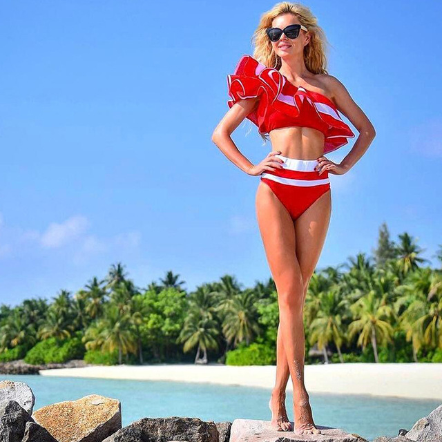Red & White Ruffle High Waisted Bikini