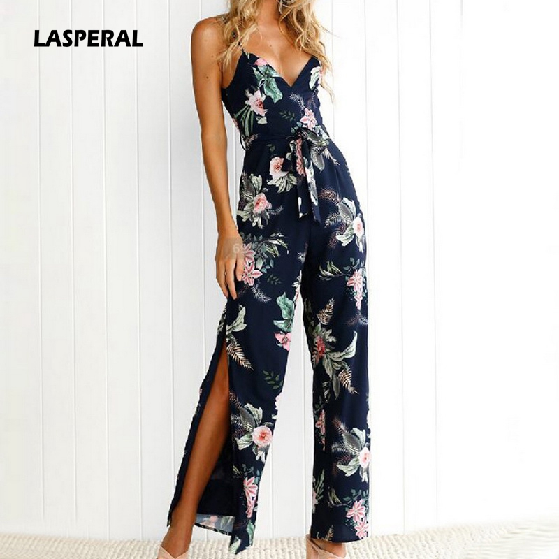 LASPERAL 2018 Women Summer Spaghetti Strap Long Jumpsuits Floral Printed Backless Split Romper with Sashes Casual Boho Jumpsuits