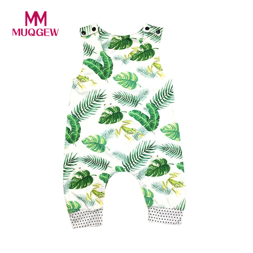 Sweet 2018 Newborn Baby Romper Boy Girl Summer frog Printing Jumpsuit Sleeveless Sunsuit Outfits Baby Clothing 2017 floral baby girl clothes summer sleeveless flower romper bodysuit ruffles halter jumpsuit headband 2pcs outfits sunsuit
