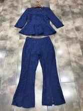 Limited Cotton Silk Zipper Tracksuits 2017 Spring New Women s Lace Suit Slim Lotus Leaf Blouse