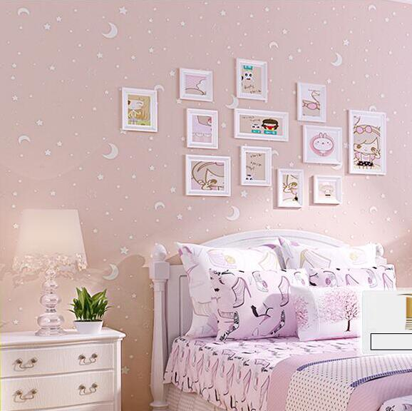 3D Luminous Stars And The Moon For Boys Girls Bedroom Wallpaper For ...