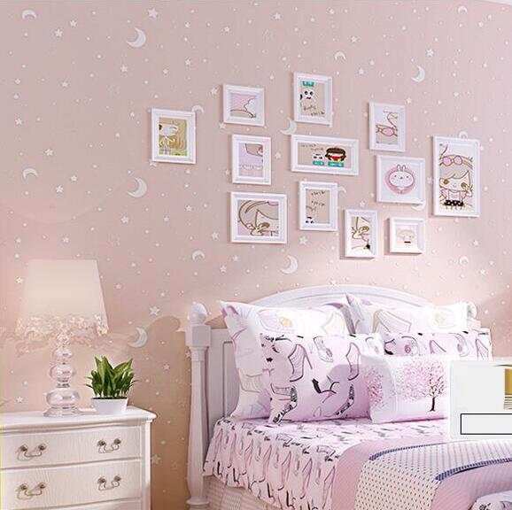 US $17.64 41% OFF|3D Luminous Stars And The Moon For Boys Girls Bedroom  Wallpaper For Walls Starry Themed Wall papers Home Decor For Kids Room-in  ...