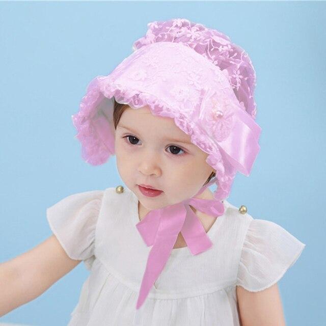 Nordic Vintage Style Baby Girl Lace Children Princess Hat Baby Cap Baby  Summer Sun Bonnet Cap 3963b535204