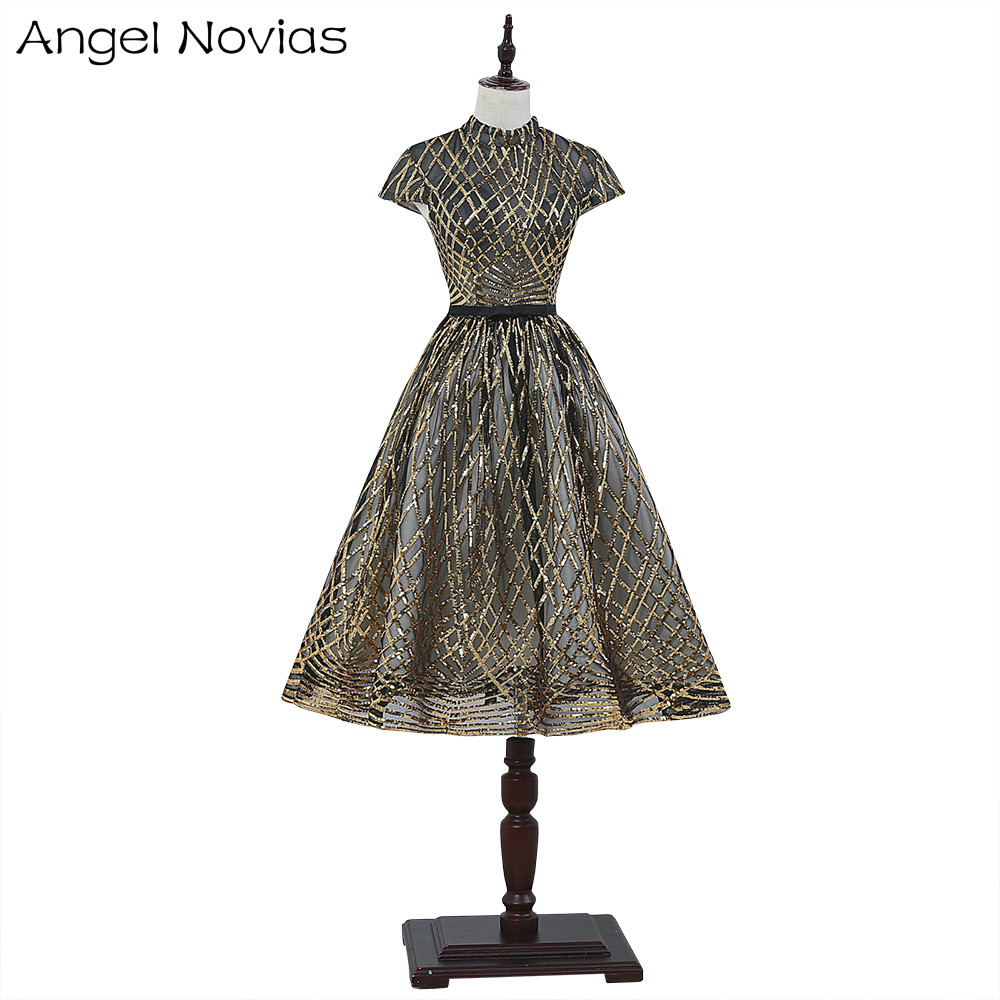 Angel Novias Gold and Black Cocktail Dress 2017 High Neck Knee Length Short Party Dress Vestidos De Coctel
