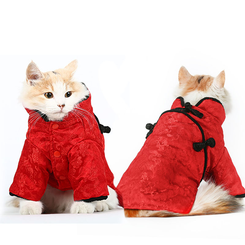 Vintage winter warm dog jacket coat pet cat dog christmas costume hoodie clothing for pet chihuahua dog clothes tang suit