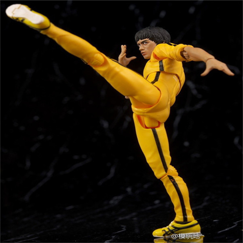 15cm 6 Kung Fu Super Star Bruce Lee Yellow Track Suit pvc action figure model toy Christmas gift kung fu panda 3 po piggy bank pvc action figure collectible model toy kids gift 18cm