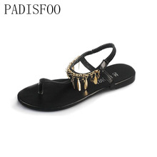 2017 D'été Femmes sandales appartements Perlé Paillettes Sandales Romaines Bohème Mode Femmes Sandales Doux Bling sandales. CLL-507