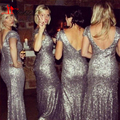 Sparkly Sequins Silver Bridesmaid Dresses 2016 Scoop Neck Cap Sleeves Open V Back Mermaid Bridesmaids Dresses For Cheap