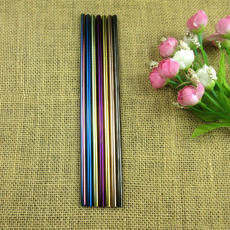 100pcs Metal Straight 6MM Drinking Straw Black Eco Friendly Stainless Steel With Rainbow Brush Food Grade