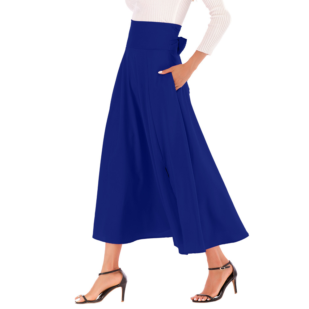 Summer Skirts Womens High Waist Pleated Long Skirt Front Slit Belted Maxi Skirt faldas mujer moda 2020 El verano #N05